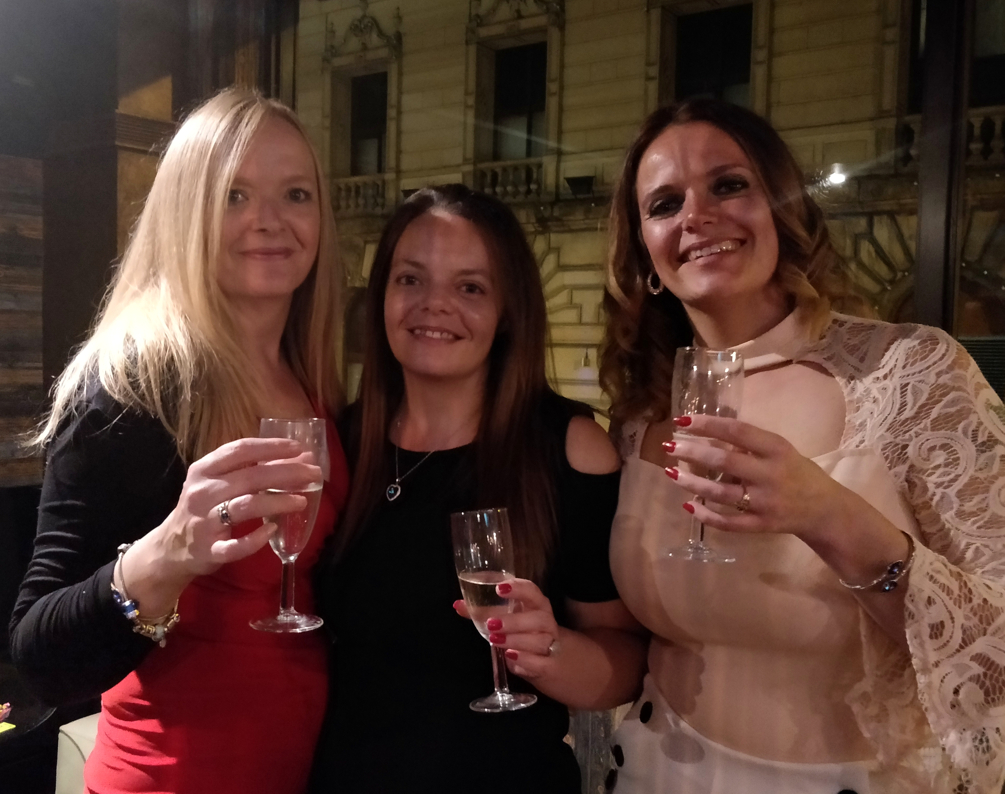These three lucky ladies won a bottle of Champagne in the Moshi Monster Meet Up challenge.